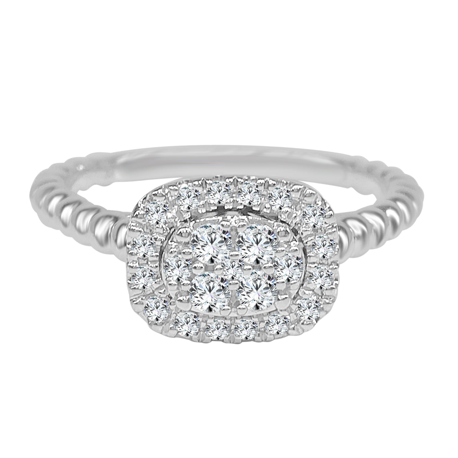 Diamond Cluster Cushion Top Beaded Band Ring