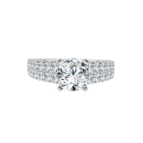 Solitaire With Double Row Diamond Fancy Band