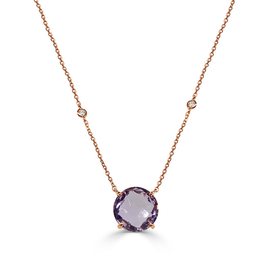 Round Amethyst Necklace With Spaced Diamond Chain