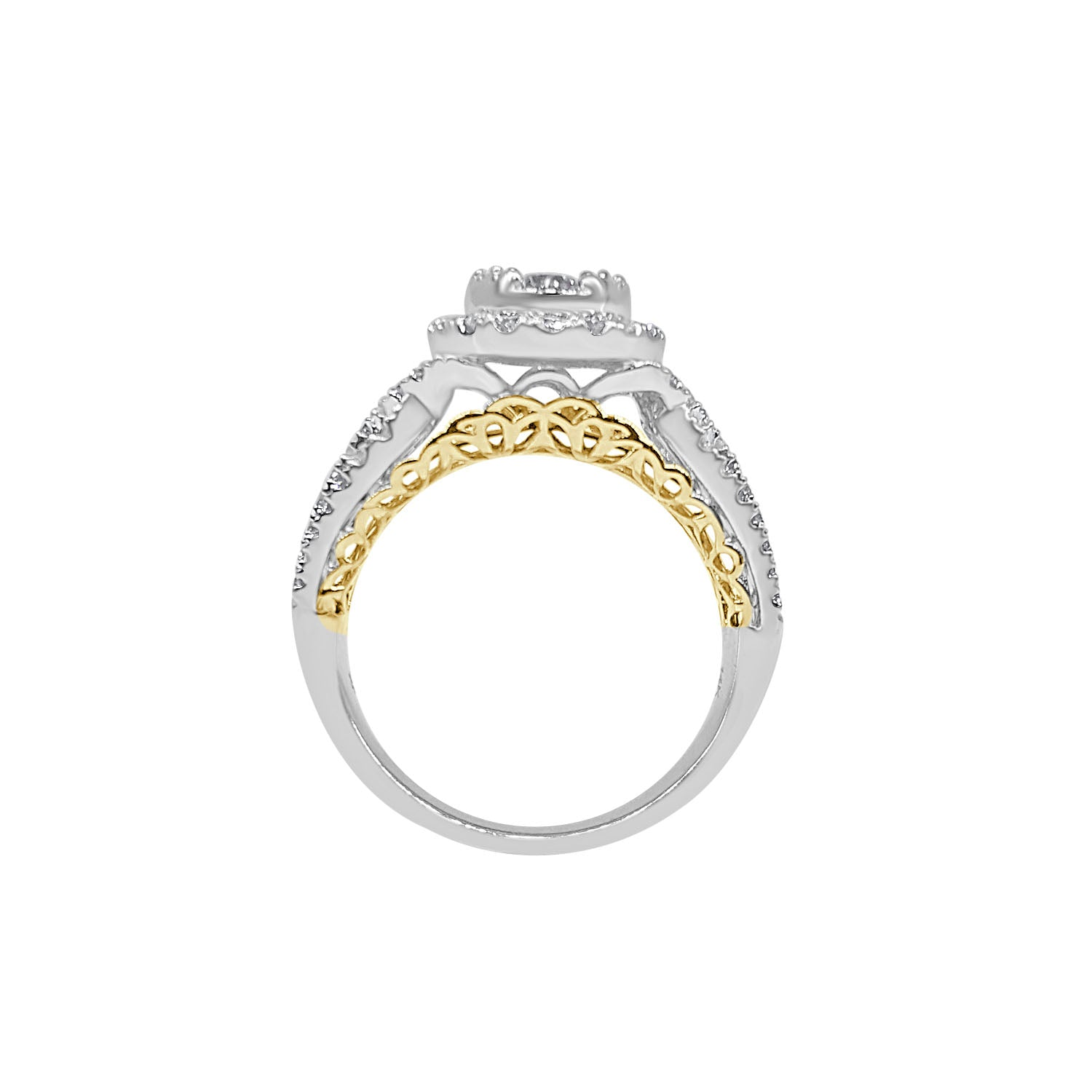 Two-tone Oval Diamond Cluster Ring With Fancy Band
