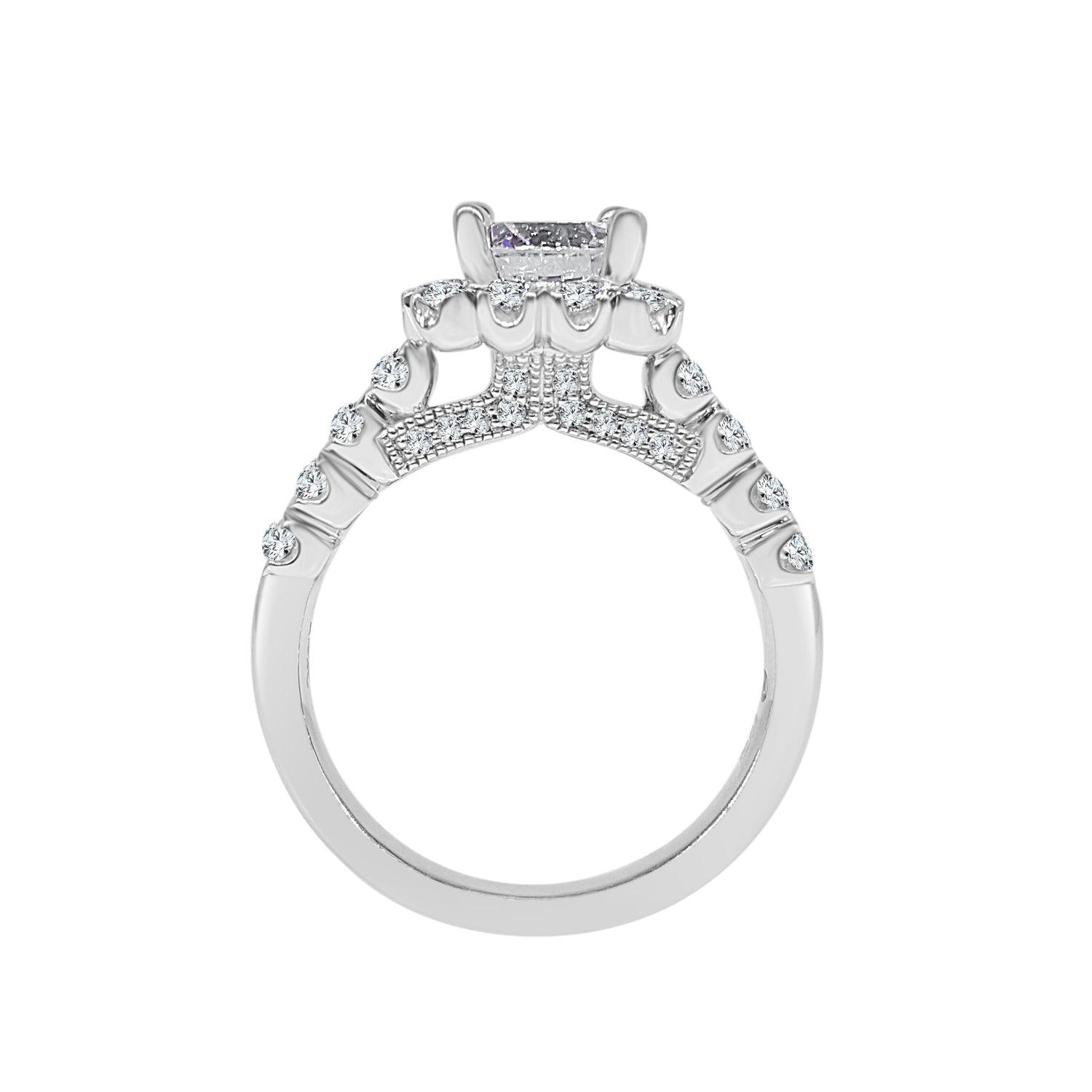 Fana Fancy 0.75 Carat Diamond Cushion Halo Ring