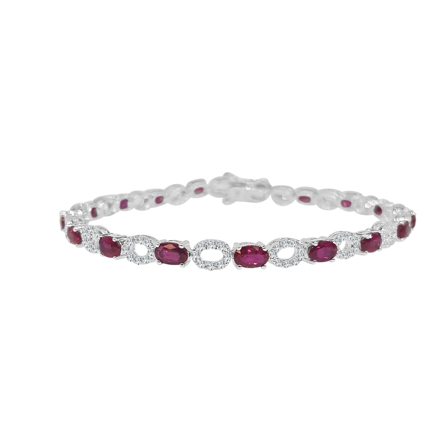 strand white ruby three estate gold bracelet couture diamond in