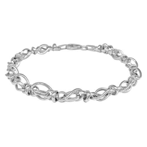 Fancy 14 Karat White Gold Link Bracelet