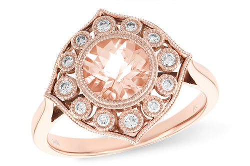 Morganite And Diamond Vintage Ring In Rose Gold