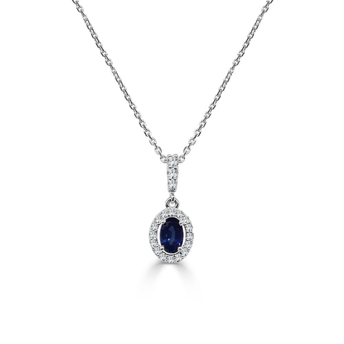 Diamond Halo With Oval Sapphire Necklace