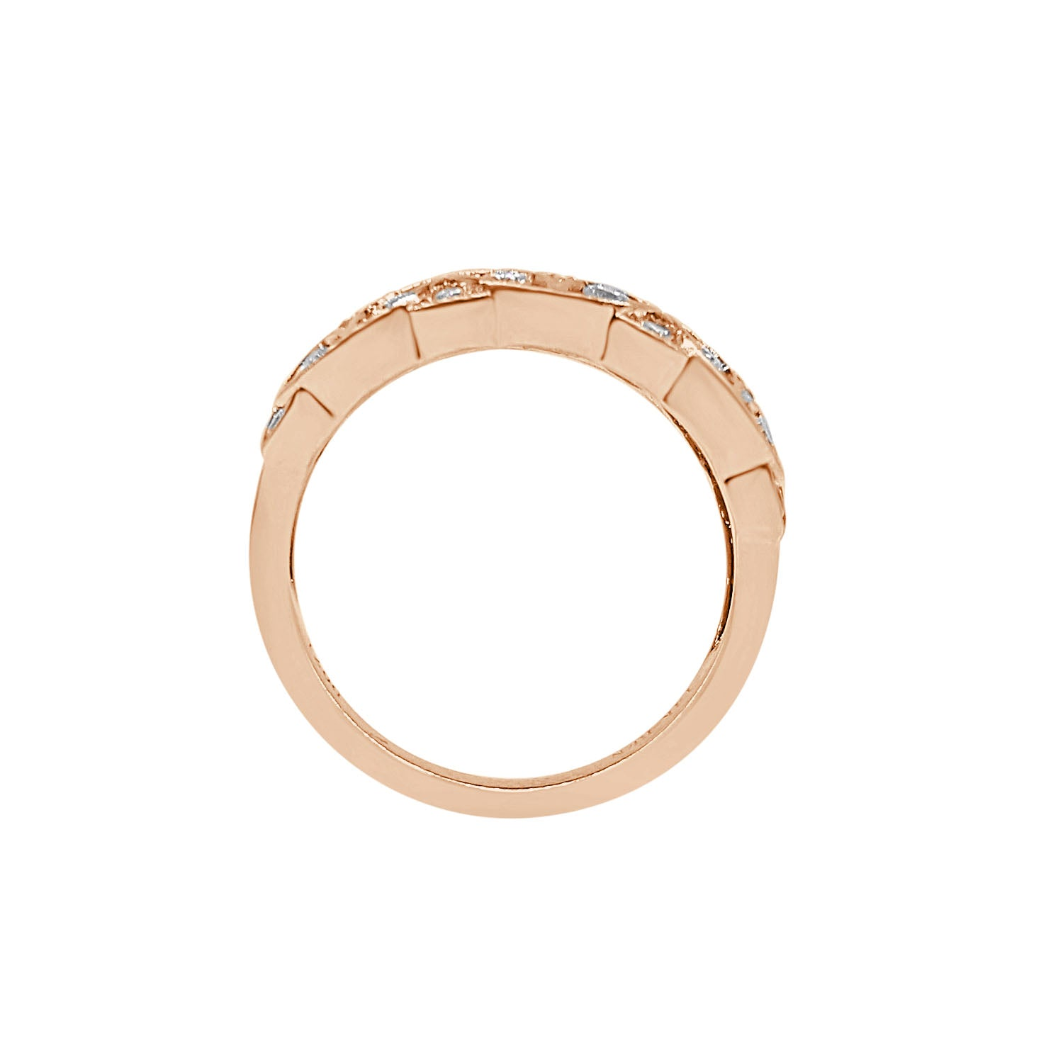 Fancy Diamond Floral Ring In Rose Gold