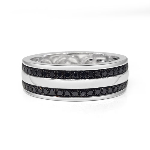 Double Row Black Diamond Mens Band