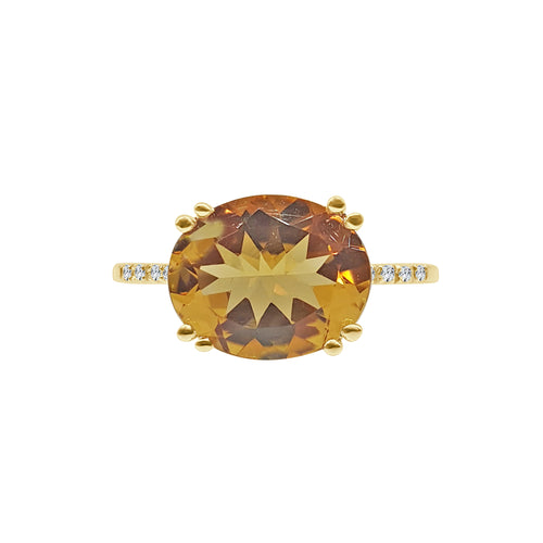 Turned Oval Citrine With Diamond Band Ring