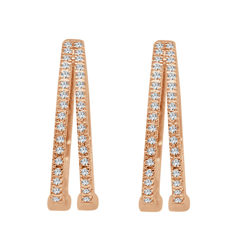 Rose Gold Diamond 2 Row Hoop Earrings