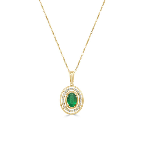 Oval Emerald And Diamond Concentric Oval Necklace