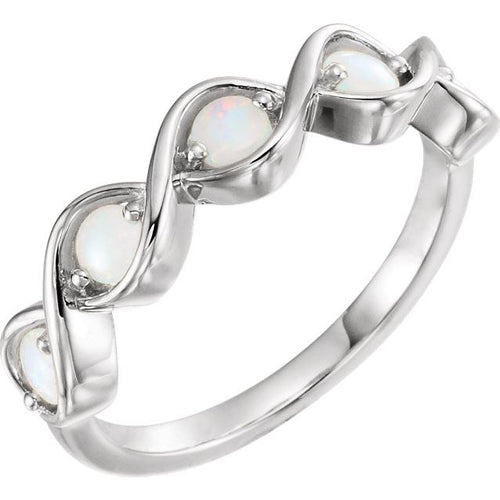 Opal Twist Ring In White Gold