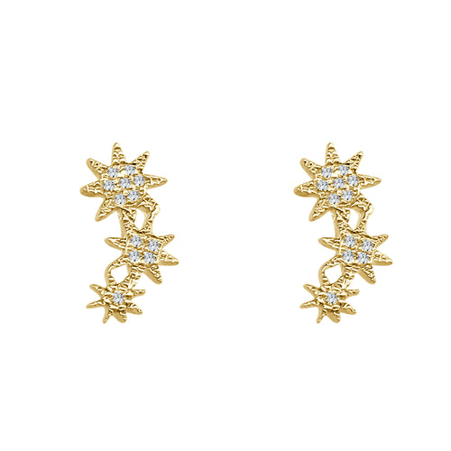 Shy Creations Diamond Triple Star Stud Earrings