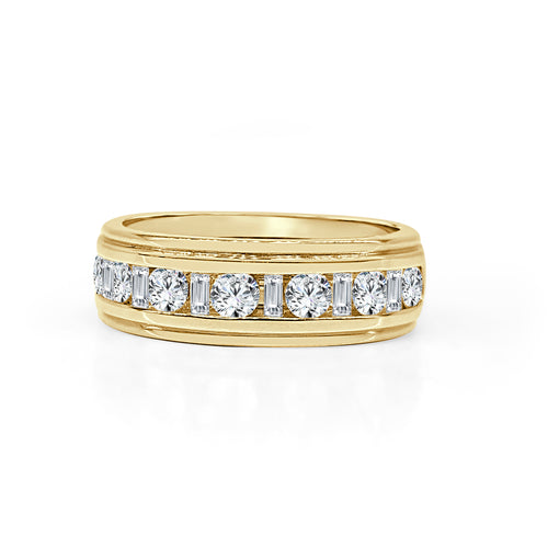Yellow Gold Step Edge Band With Diamonds