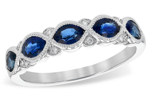 Sapphire And Diamond Milgrain Antique Style Band
