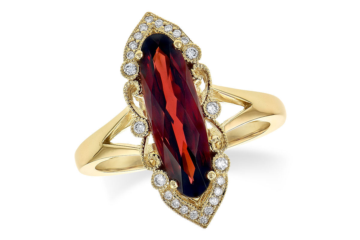 Garnet And Diamond Antique Style Split Shank Ring