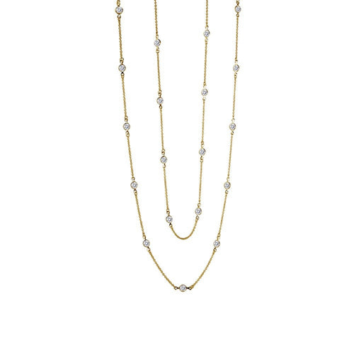 Lafonn 6.0 Carat Gold Plated Bezel Station Necklace