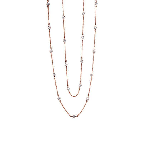 Lafonn Rose Gold Plated 6CT  Bezel Station Necklace