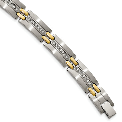 Stainless Mens Link Bracelet With Cz and Goldtone Accents