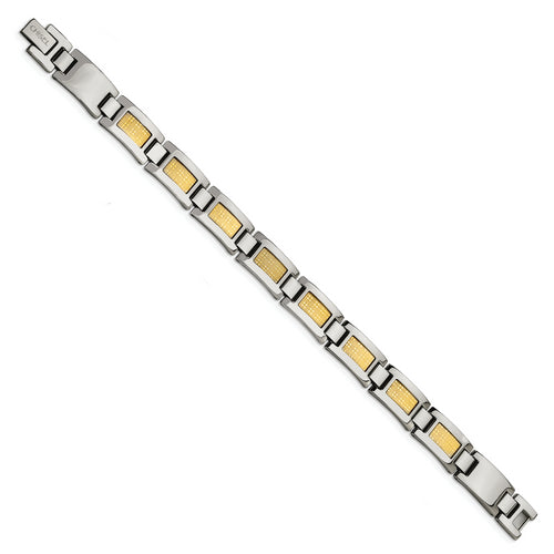 Stainless And  18 Karat Foil Inlay Mens Bracelet