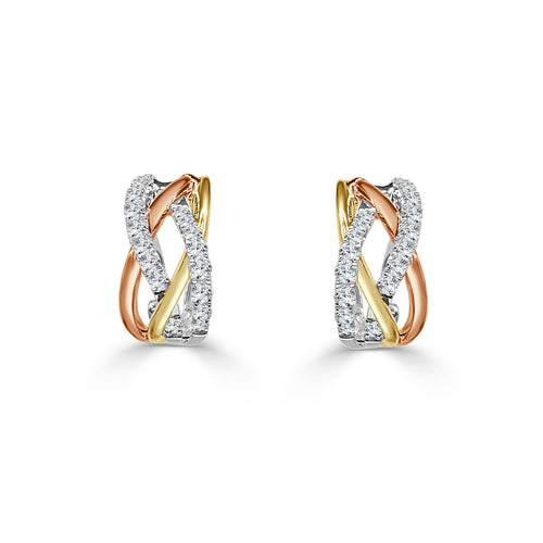 Fancy Tri-tone Diamond Twist Hoop Earrings