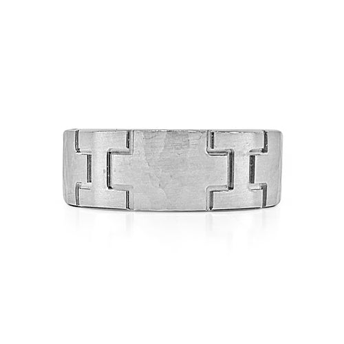 Brushed Finish Hammered Wedding Band