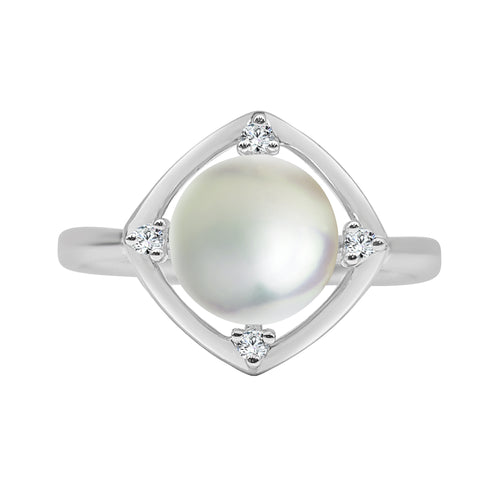 Fancy Cultured Pearl And Diamond Ring