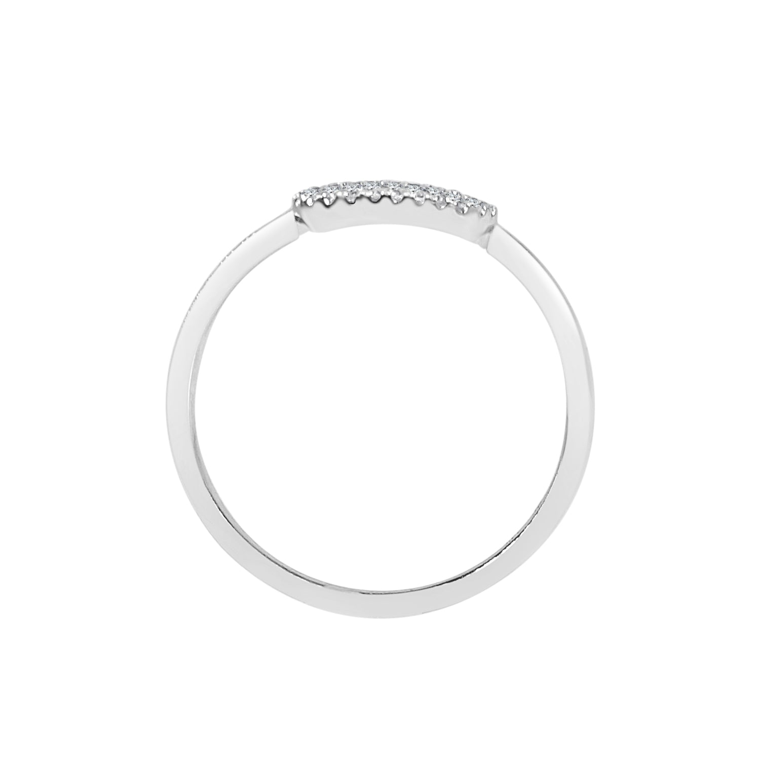 Shy Creations Flat Pave Diamond Oval Signet Ring