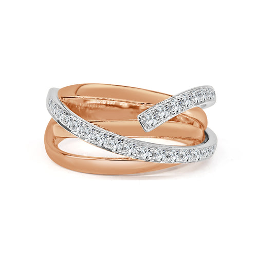 Diamond Crossover Rose Gold Ring