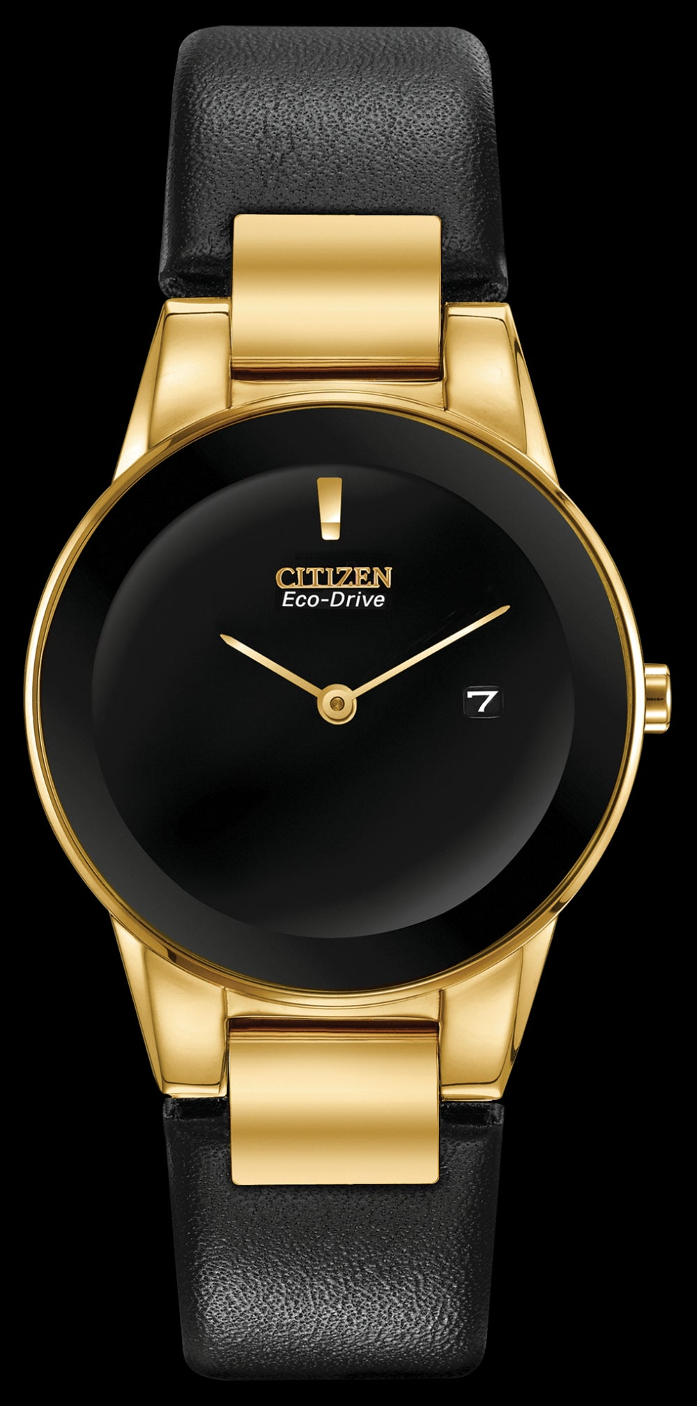 Citizen Ladies Gold Tone Watch With Black Dial And Black Leather Band