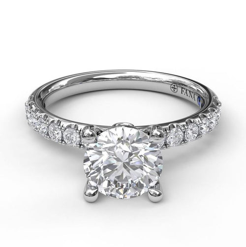 Fana Platinum Solitaire Mounting With Diamond Band