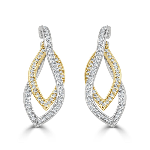 Two-tone Double Diamond Leaf Drop Earrings