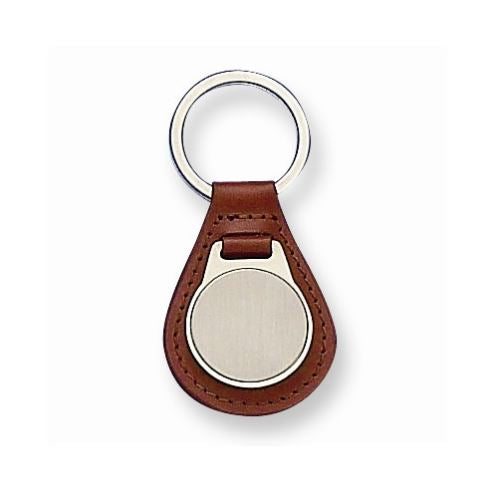 Brown Leather Engravable Key Ring