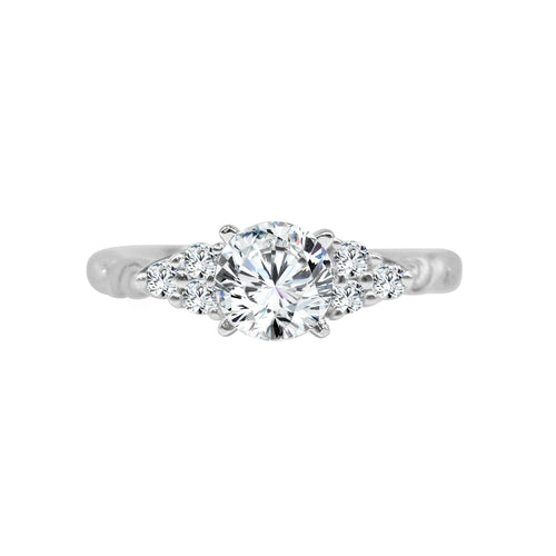 Solitaire With Side Diamonds And Fancy Carved Twist Band