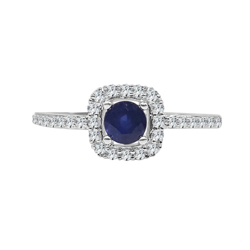 Round Sapphire With Cushion Diamond Fancy Ring