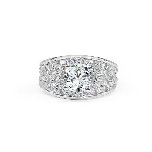 Simon G. Round Diamond With Halo And Wide Fancy Leaf Diamond Band