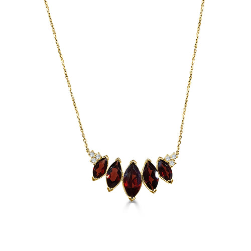 Fancy Marquise Ruby And Diamond Necklace