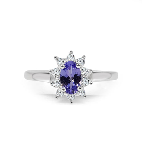 Oval Tanzanite And Diamond Fancy Ring