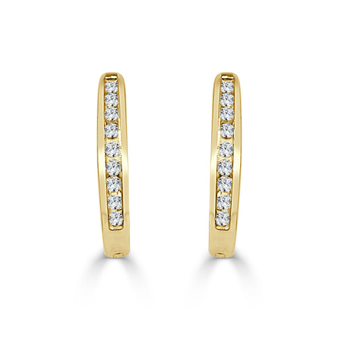 Channel Diamond Hoop Earrings