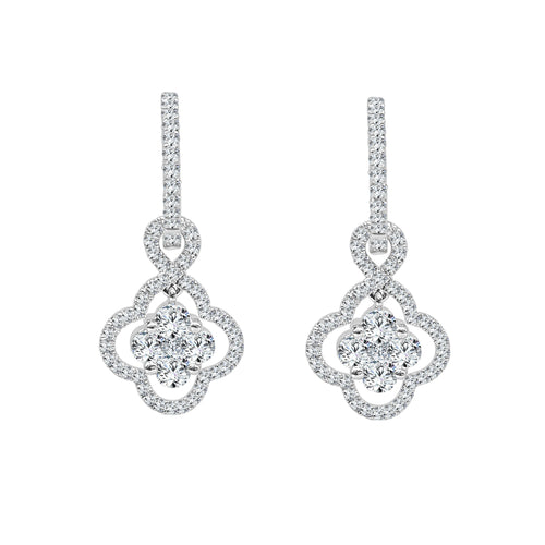 Fancy Floral Shape Diamond Drop Earrings