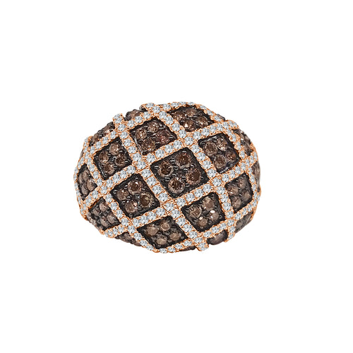 Patterned White And Brown Diamond Fancy Ring
