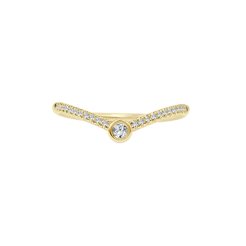 Shy Creations Bezel Set Diamond Curved Stack Ring In Yellow Gold