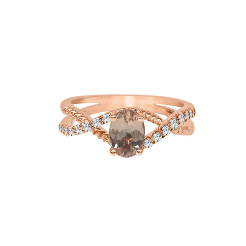 Oval Morganite With Twist Diamond Band