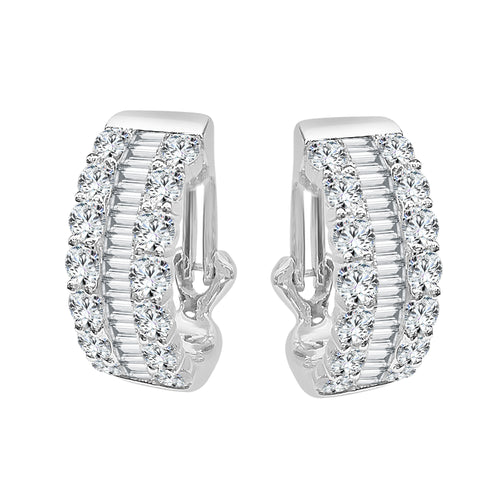 Round And Baguette Diamond Clip Hoop Earrings