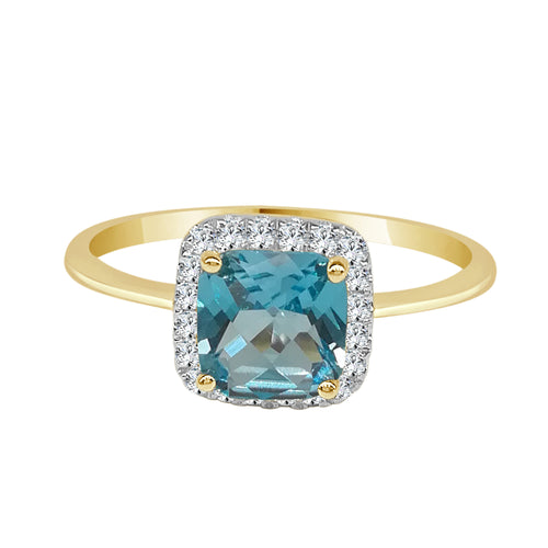 Blue Topaz And Diamond Cushion Cut Halo Yellow Gold Ring