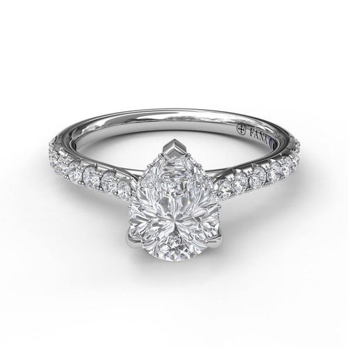 Fana Pear Shape Solitaire Mounting With Diamond Band