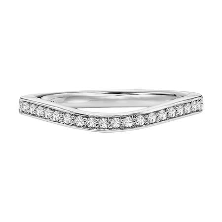 Round Diamond Wedding Band Curved To Fit Matching Engagement Ring.