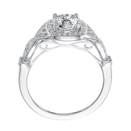 Round Diamond With Cushion Halo Twist Engagement Ring