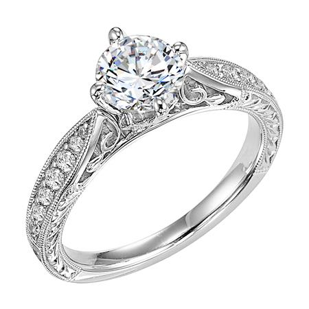 Round Brilliant Cut Diamond Engagement Ring With Engraving And Milgrain