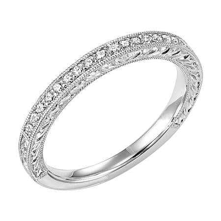 Wedding Band With Round Bead Set Diamonds Milgrain And Engraving