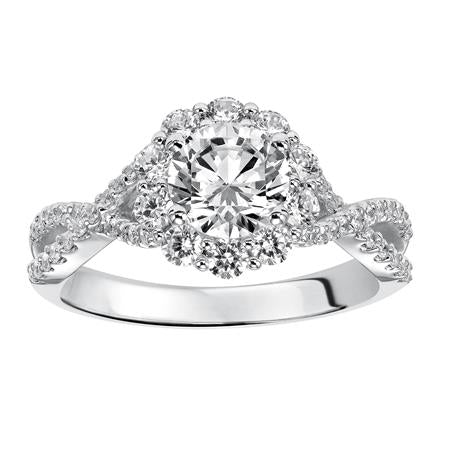 Twisted Shank Floral Halo Engagement Ring